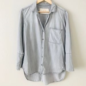 Bella Dahl Gray Wash Chambray Button Down Shirt